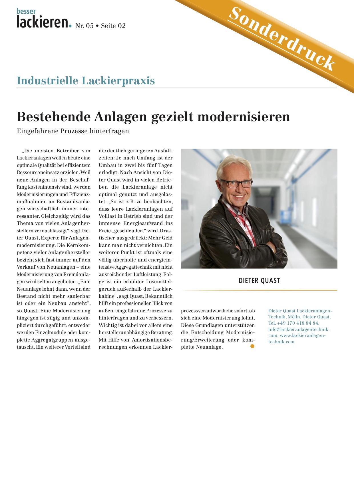 """besser lackieren: """"Bestehende Anlagen gezielt modernisieren"""""""
